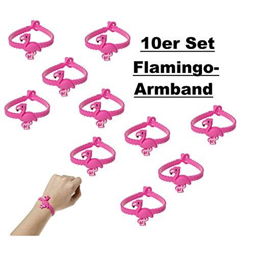 10x Armband Flamingo Mädchen Kinder Schmuck Mitgebsel Tombola Geburtstag pink