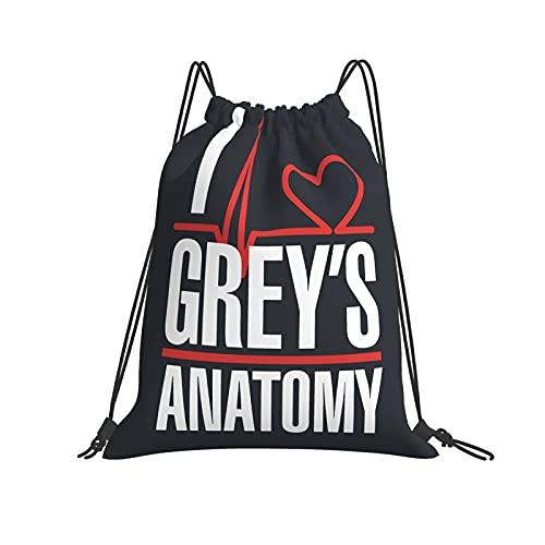 DJNGN Grey 'S Anatomy Bolso con cordón Bolsos Deportivos para Gimnasia Bolso con cincha Bolso de Playa Ligero de poliéster para Hacer Compras Yoga