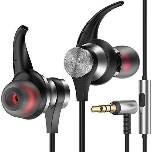 Losvick In-Ear-Kopfhörer, kabelgebunden, mit Mikrofon und Lautstärkeregelung mit Geräuschunterdrückung 3,5 mm, für iPhone 5/5S/SE/6/6S und Android Smartphones, Grau