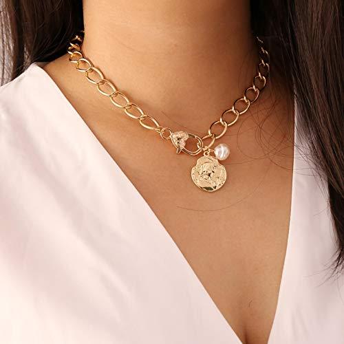 Halskette Punk Choker Halskette Frauen Chunky Chain Mit Münze Halskette Perle Fett Kragen Damenschmuck Für Geburtstag Freundin Geschenk