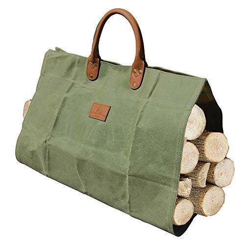 ACKEIVTO Waxed Canvas Firewood Log Carrier Durable Firepalce Wood Bag with Reinforce Cotton Straps