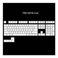 メカニカルキーボード ANSI ISOプロフィールプリンキーセットのための機械的なキーボードを通じ108 PBTダブルショット磨き,耐久性のあるゲーミングキーボード (Color : WWhite 108 iso)