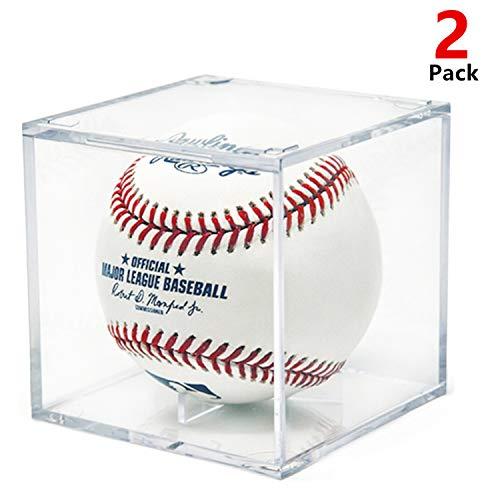 AIFUSI Baseball Display Case, UV Protected Acrylic Cube Baseball Holder Square Clear Box Memorabilia Display Storage Sports Official Baseball Autograph Display Case - Fits Official Size Ball (2 Pack)