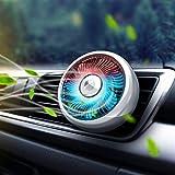 Ventilateur de voiture, Ventilateur USB de voiture Ventilateurs de refroidissement automatique 3 vitesses Ventilateur silencieux et puissant à ventouse avec lumière colorée ( Size : Silver Air Vent )