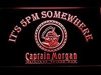 Captain Morgan It's 5pm Somewhere LED看板 ネオンサイン ライト 電飾 広告用標識 W30cm x H20cm レッド
