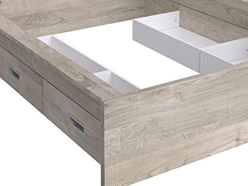 Marque Amazon -Movian - Cadre de lit double avec tête de lit et 4tiroirs Havel Modern, 196 x 162,2 x 80, Effet Chêne