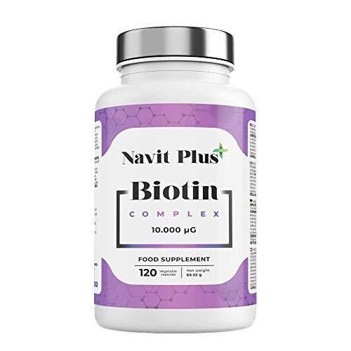 Biotina 10.000 mcg para el crecimiento del cabello. Alta dosis de vitaminas de biotina para fortalecer cabello, piel y uñas. 120 cápsulas vegetales.
