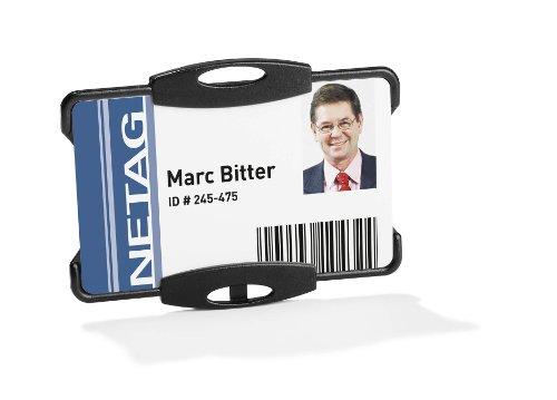 Duurzame 891801 identiteitskaarthouder voor bedrijfsidentiteitskaart of beveiligings-badge 54 x 85 mm - zwart (Pak van 10)