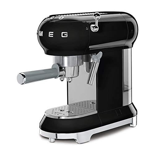 Smeg ECF01BLUK Traditional Pump Espresso Coffee Machine, Adjustable Cappuccino System
