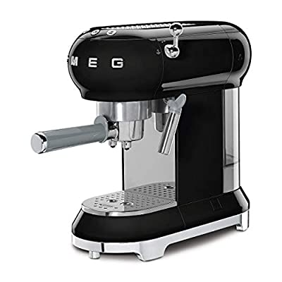 Smeg ECF01BLUK Traditional Pump Espresso Coffee Machine, Adjustable Cappuccino System