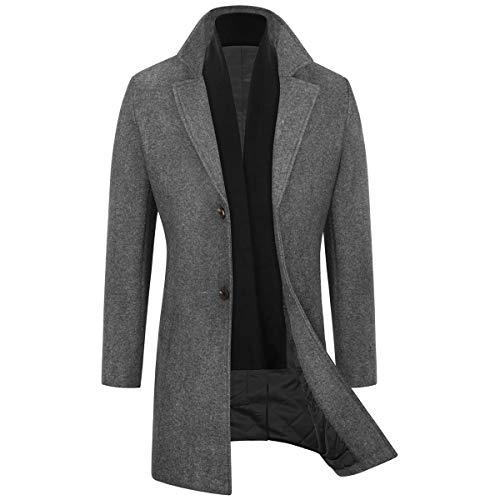WULFUL 남성 슬림 핏 겨울 울 코트 롱 트렌치 코트 비즈니스 재킷
