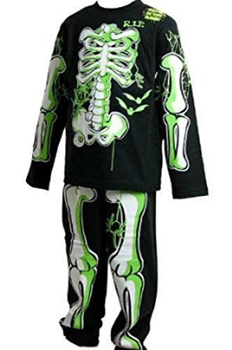 Pijama para niños con diseño de esqueleto que brilla en la oscuridad, disfraz para Halloween, color negro con huesos en verde y blanco, 3-4, 5-6, 7-8 y 9-10años negro negro 7 años