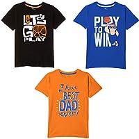 Real Basics Boys' Tshirt Pack of 3 Cotton, Regular Fit, Multicolour (Set5)