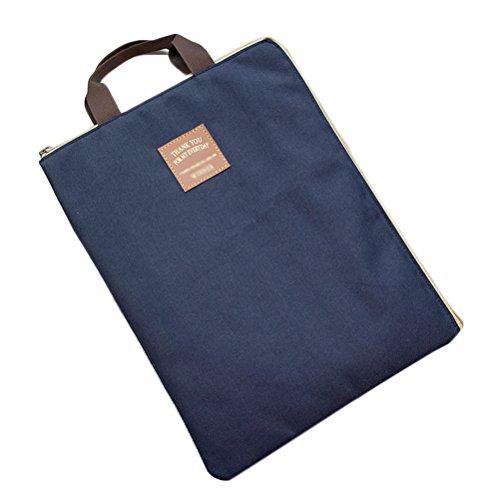iSuperb Porta Documenti A4 Borsa Documenti Impermeabile Document Organiser Cartella Lavoro con Cerniera per Uomo e Donna 35*27cm (Blu scuro)