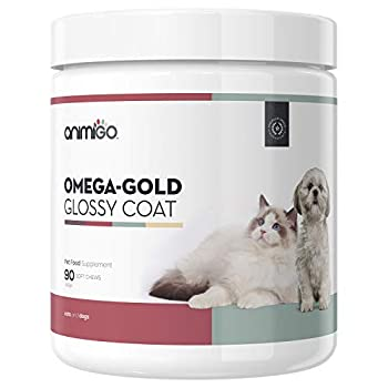 Animigo Omega Gold Glossy Coat - For a Healthy Skin & Coat - Support For Cats & Dogs - With Brewer's Yeast, Linseed & Salmon Oil - Fish Oil Supplement - Rich in Omega 3 & 6 - 90 Soft Chew Treats