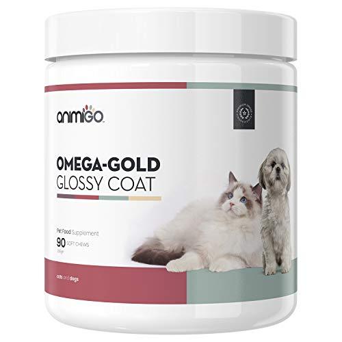 Animigo Omega Pelaje Brillante para Piel y Pelo de Perros y Gatos | con Aceite de Salmón Premium y Levadura de Cerveza | Contiene Omega, DHA Y EPA, Fibra y Proteína | 90 Comprimidos Masticables |