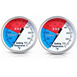 YOTOM BBQ Grill Thermometer Gauge, 2 Pack Charcoal Grill Smoker Temperature Gauge Pit BBQ Grill Thermometer