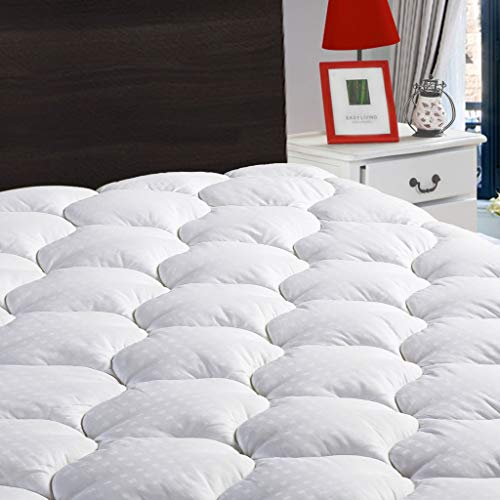 LEISURE TOWN Twin Mattress Pad Cover Cooling Mattress Topper Cotton Top Pillow Top with Snow Down Alternative Fill (8-21 Inch Fitted Deep Pocket)
