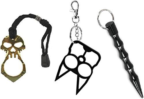 TRUEGOOD 3 Packs Multiple Pen Keychain Solid Aluminum Tactical Pen with Keyring Gift for Women Girls Teens Men
