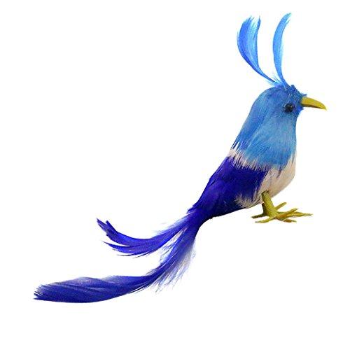 MagiDeal Oiseau Artificielle Plumes en Polyéthylène Queue Bleue Faux Paysagère Miniature Décoration Jardin Maison Figurine Noël