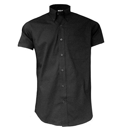 Relco Herren Oxford Kurzarm Mod Hemd Schwarz 2XL
