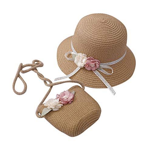 KEJINKCSEE Beach Straw Hat and Bag Set for Girls 2-7 Age Summmer Beach Sun Hat with Flower Cute Wide Brim Sunscreen Cap Set