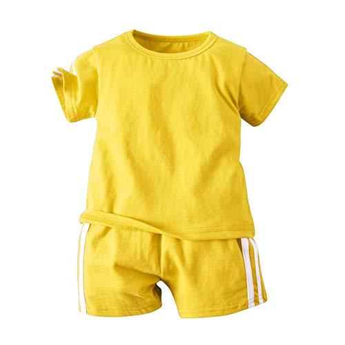 Oyolan Kleinkind Baby Jogginganzug Jungen Shorts und T-Shirt Set Baumwoole Sportanzug Trainingsanzug für 1-6 Jahre Gelb 98-104