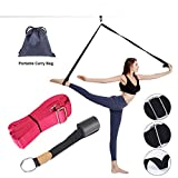 LHB Adjustable Leg Stretcher Lengthen Ballet Stretch Band - Easy Install on Door Flexibility Stretching Leg Strap Great Cheer Dance Gymnastics Trainer Stretching Equipment Taekwondo Training (Rose)
