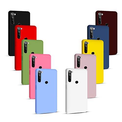 NUDGE 10X Fundas para Xiaomi Redmi Note 8T,Carcasa Silicona de Color Sólido Anticaída,Cubierta Flexible Ultrafina a Prueba de Arañazos y Golpes