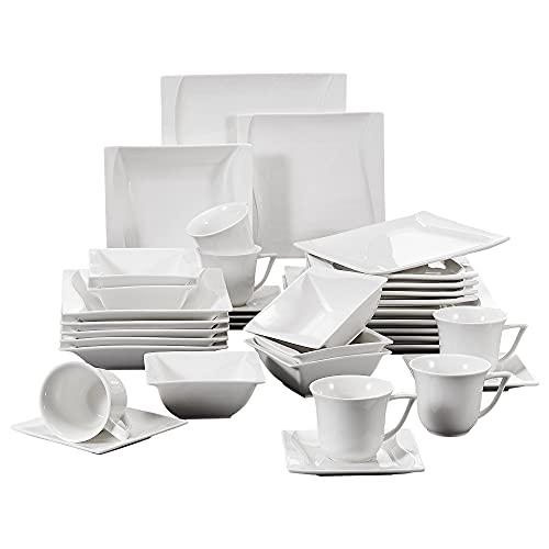 MALACASA, Série Carina, 36 pièces Services de Table Complets Porcelaine, 6pcs Assiettes Plates, 6 Assiettes Creuse, 6 Assiettes à Dessert, 6 Tasses avec 6 Soucoupes, 6 Bols
