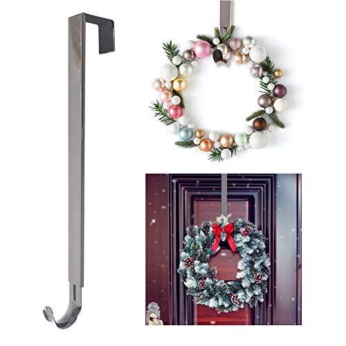 Xiangmall Kranz Aufhänger Verstellbar Türhaken Metall Kleiderhaken für Hängen Weihnachtskranz Dekoration Kleider Handtücher (Nickel)