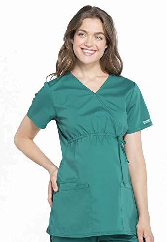 Cherokee Workwear Professionals Maternity Mock Wrap Scrub Top, XS, Hunter Green