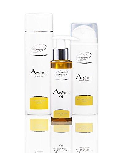 GAMME ARGAN+. Restructure les Cheveux Abîmés. Traitement DERMATOLOGIQUE COMPLET composé de: 1- Argan + | Shampoing 200 ML. 2- Argan + | Crème Nutritive. 3- Argan + | Oil