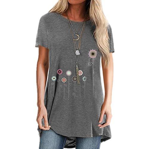 FMYONF Camiseta de manga corta para mujer con diseño de diente de león, cuello redondo, estilo informal, tallas grandes S-3XL gris L