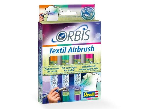 Orbis Airbrush, Orbis-Farbpatronen, Textilfarbset, zum sprühen auf hellen Textilien, Fixierung durch Bügeln, waschbar bis 30 Grad, einfacher Wechsel der Airbrushfarben, orange, lila, pink, grün 30401