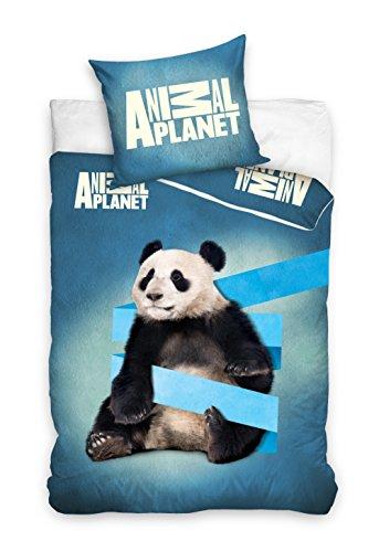 Animal Planet Panda Parure de lit 100% Coton Housse de Couette 160x200 + taie d'oreiller 70x80 Idée Déco