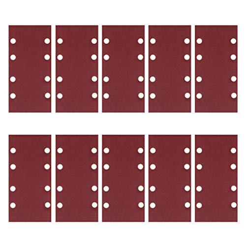 iplusmile 60 Stück 8 Löcher Schleifpapier quadratische Schleifenschleifer Blatt haltbares Schleifpapier zum Drehen von Holzbearbeitungsmöbeln (60/80/100/120/180/240 je 10 Stück)