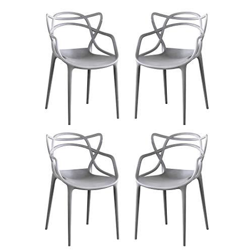 Milani Home s.r.l.s. Set di 4 Sedia in Polipropilene plastica Grigia di Alta qualità di Design per Interno e Giardino Stile Moderno per Sala da Pranzo, Cucina