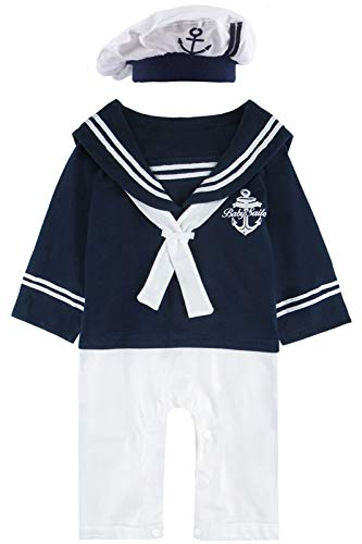 MOMBEBE COSLAND Mono Bebé Niño Manga Larga Disfraz Marinero Algodón (6-12 Meses, Azul Real 2)