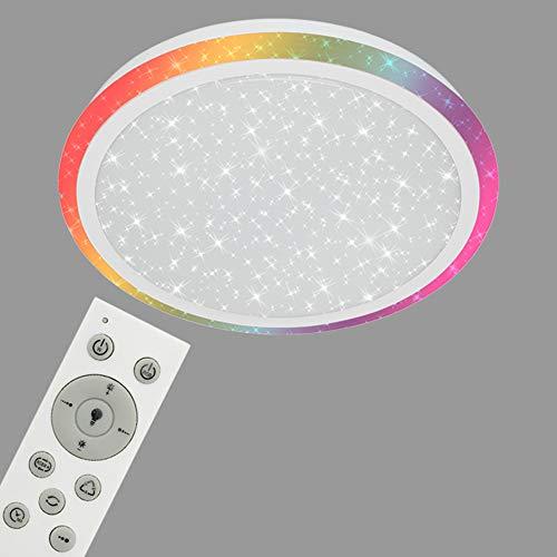 Briloner Leuchten LED Deckenleuchte mit Sternendekor, dimmbar, Fernbedienung, Farbtemperatursteuerung, Nachtlichtfunktion, Deckenlampe 24W, 1800 Lumen, Metall, 24 W, Weiß, Ø 41cm