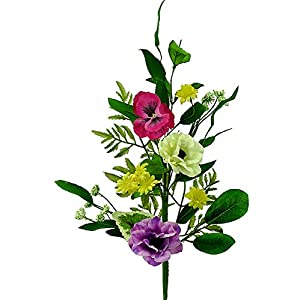 Liberty Artificial 26″ Anemone & Pansy Mixed Floral Spray- Pink, Purple, White Flowers