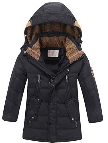Vogstyle Jungen Winterjacke mit Kapuze Jacken Blouson Kinder Kapuzenparka Warm Blouson Wintermantel, Schwarz, 160-170 (Herstellergröße: 170)