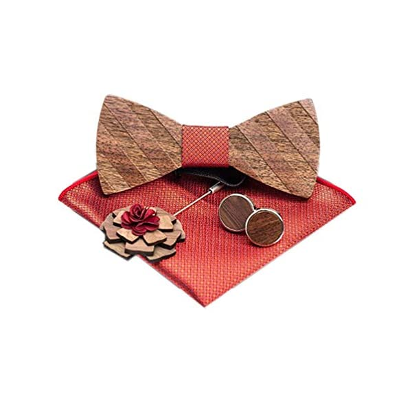 Classic Handmade Mens Wood Bow Tie with Matching Pocket Square and Men's Cufflinks Set