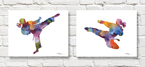 Set of 2 Karate Girl Abstract Watercolor Art Prints by Artist DJ Rogers
