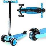 IMMEK Patinete infantil de 3 ruedas para niños a partir de 2 – 8 años, con 3 ruedas LED de poliuretano, manillar regulable en altura y máximo 50 kg (azul)