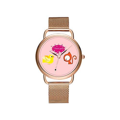 Vrouwen horloges merk dames mesh riem ultradun horloge waterdicht horloge kwartshorloge Kerstmis vogel hart gedicht polshorloges