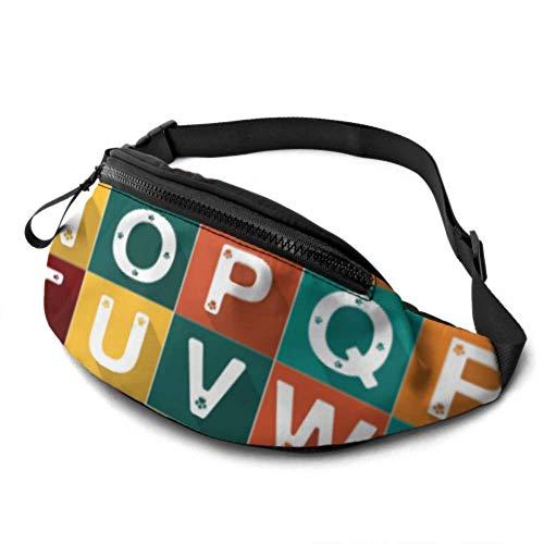 Paquete de cintura de viajero Número de alfabeto Conjunto de pata de gato de perro Ilustración Mochila de cintura con conector para auriculares y correas ajustables Paquete de cintura para viajes Dep