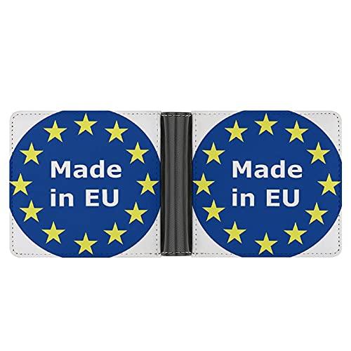 Hecho en la UE POWR Cartera de cuero para hombre, PU Fibra Bi-fold tarjeta titular con ranuras, compartimentos y ranura para ventana de identificación, diseño minimalista elegante