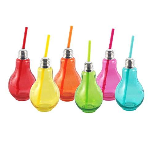 CAPRILO. Lote de 12 Vasos Decorativos de Cristal con Pajita Bombillas. Vajillas...
