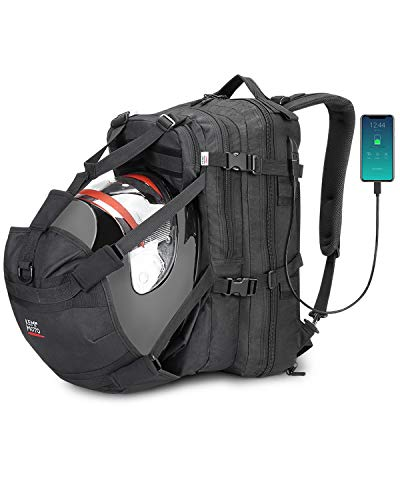 kemimoto Motorcycle Backpack, Helmet Backpack, 37L Motorcycle Helmet Bag, Snowmobile Helmet Bag with USB-charge Port, Large Capacity Helmet Holder Luggage Storage Bag with Waterproof Cover